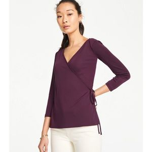 Matte Jersey Wrap top in winter violet